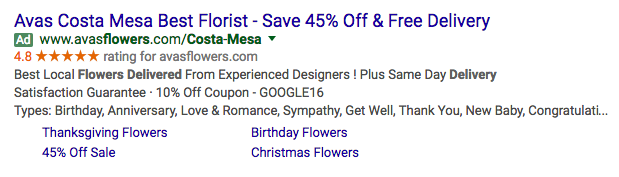 For example, same ad here for the Cost Mesa location.