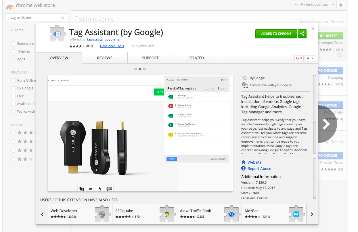 Tag Assistant in the Chrome Store.