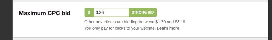 Pinterest helps you by giving you a bidding scale based on other advertisers.