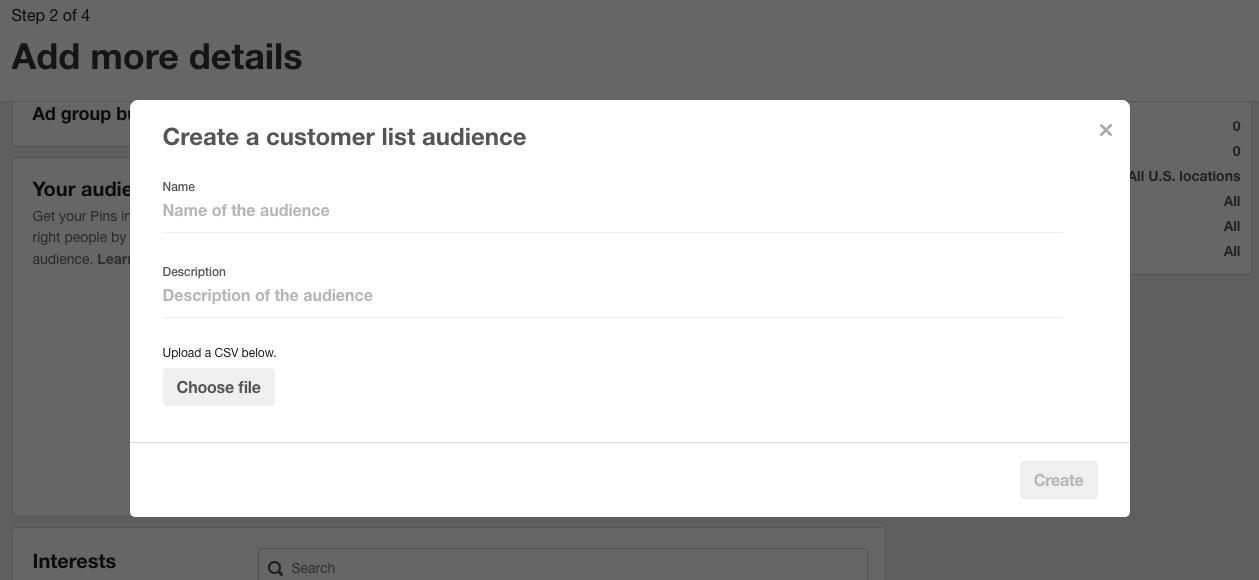 Customer list audience selection