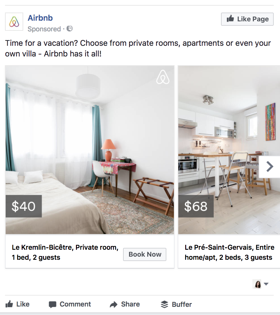Airbnb's carousel ad