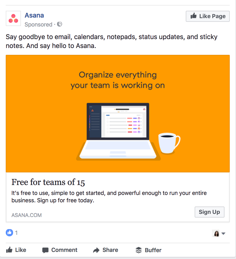 Asana's Facebook ad is orange.