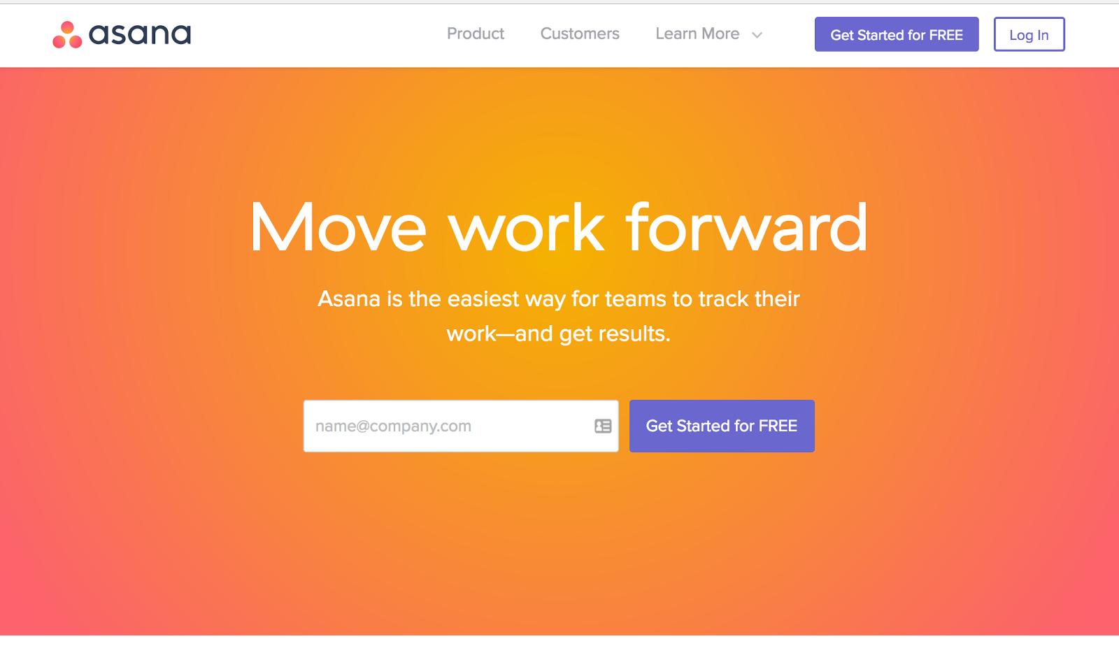 Asana's website is orange as well.