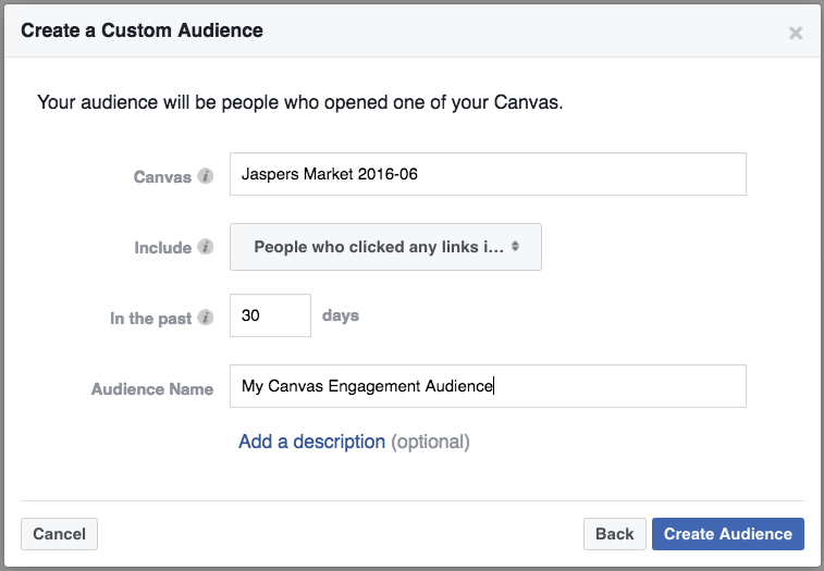 Create Canvas Ads-based Facebook remarketing audiences.