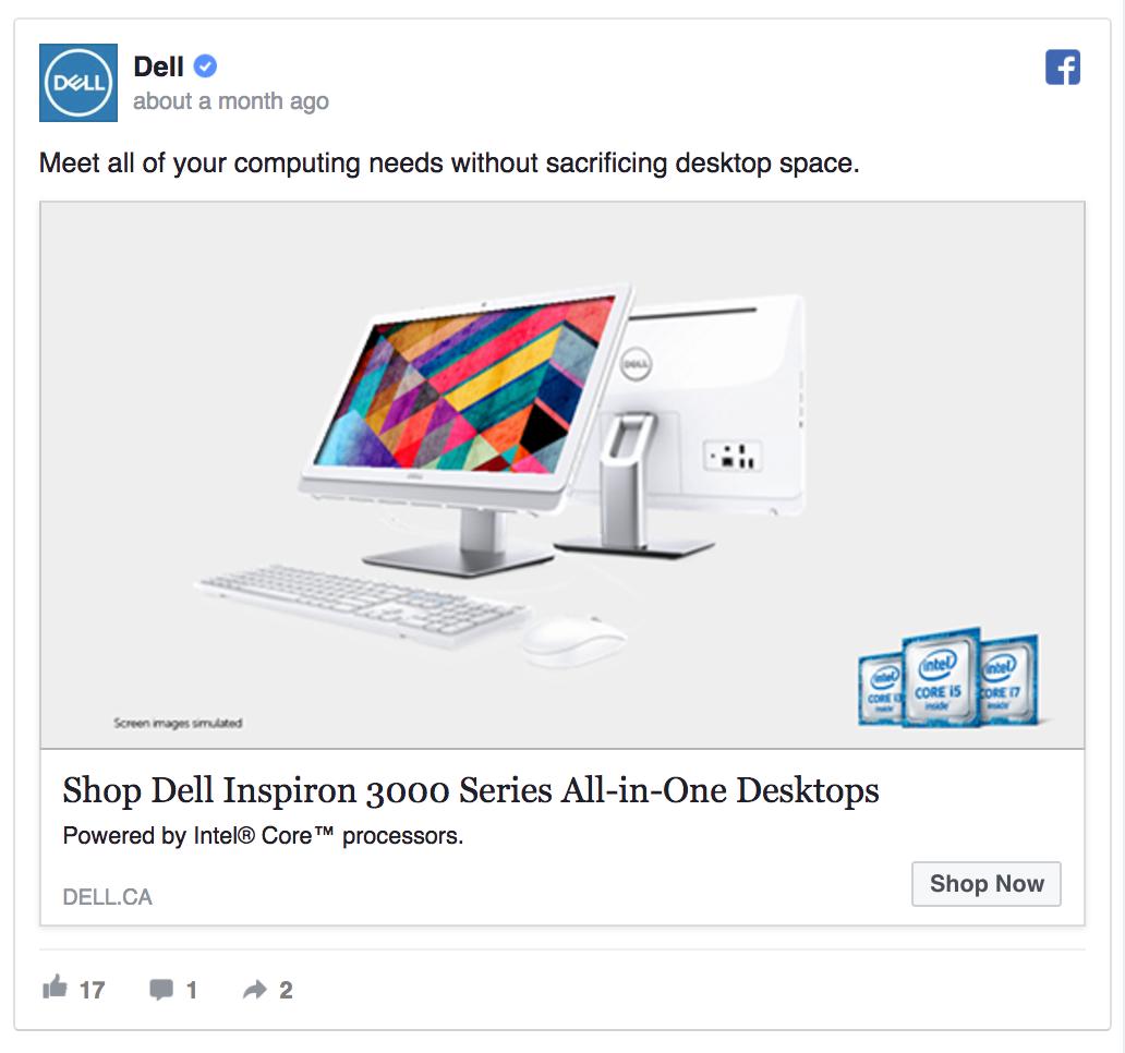Dell's Facebook ad