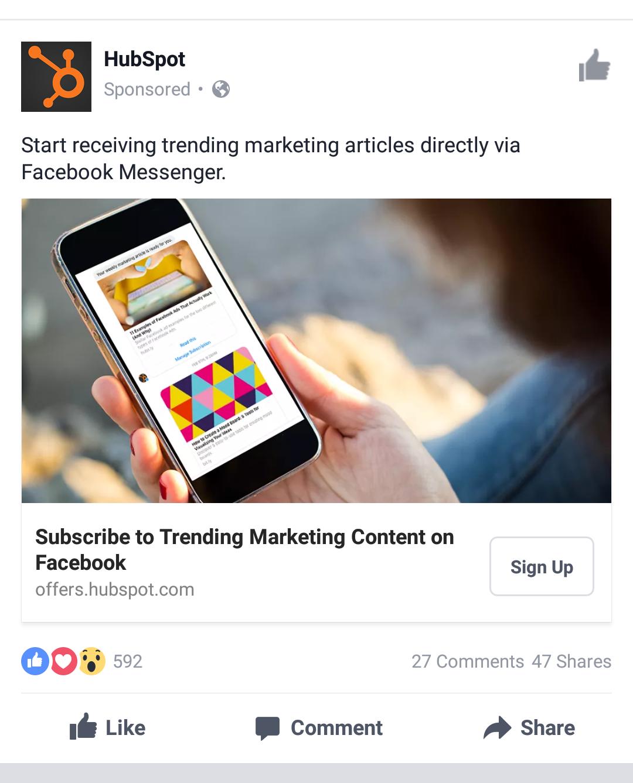 HubSpot's Facebook ad