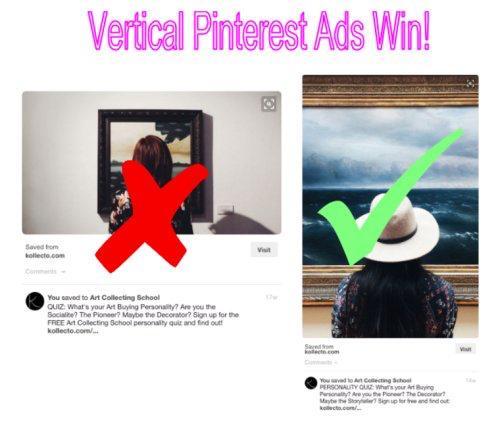 Vertical images take up more real estate on Pinterest.