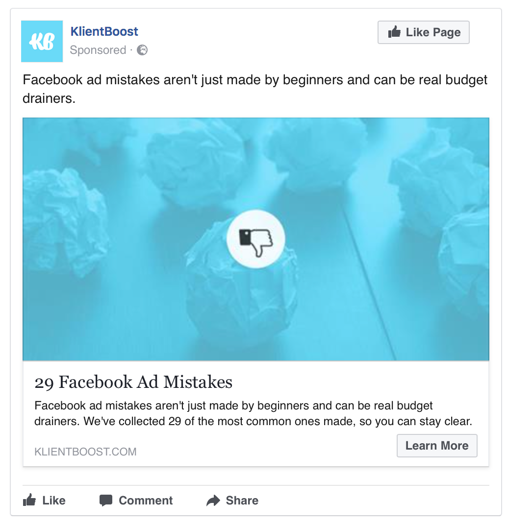 This ad could target past blog readers who have read a Facebook related post before.