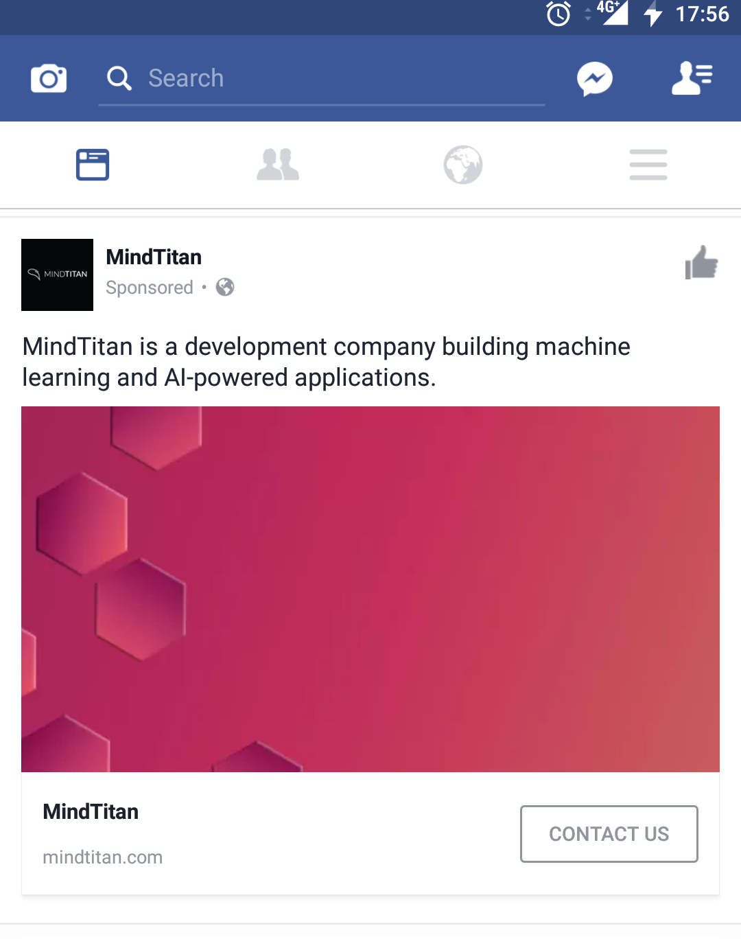 MindTitan's Facebook ad is focused on brand awareness.