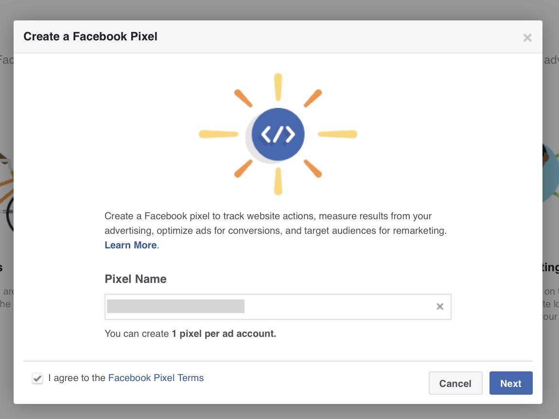 Name your Facebook Pixel.
