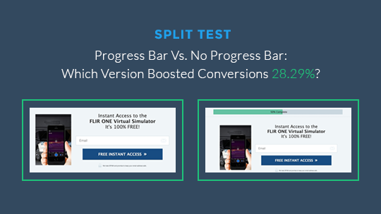 landing page not converting version with progress bar won with 28.29% increase.