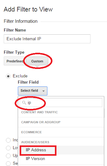 Excluding internal IP Addresses with filters.