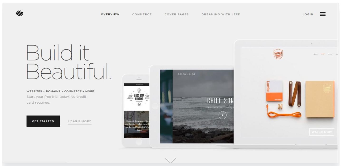 Squarespace' website on desktop