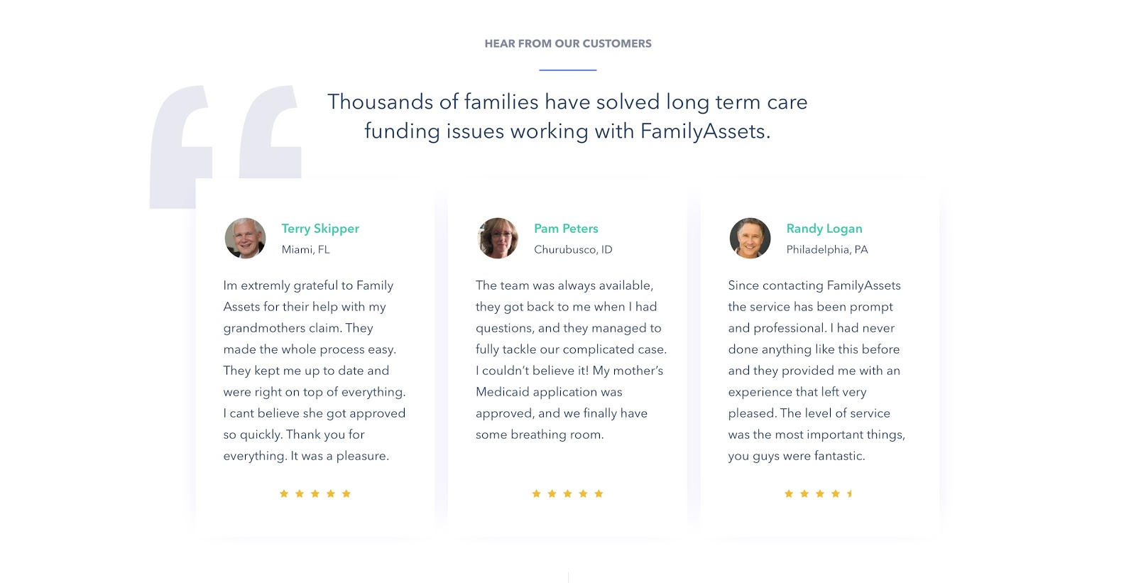landing page not converting Testimonials section with star ratings.