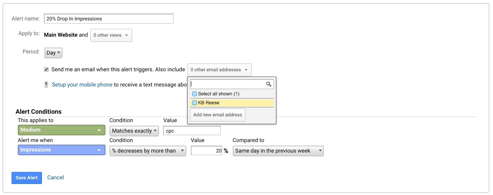 You can even have Google Analytics text you. But you can't text back. :(