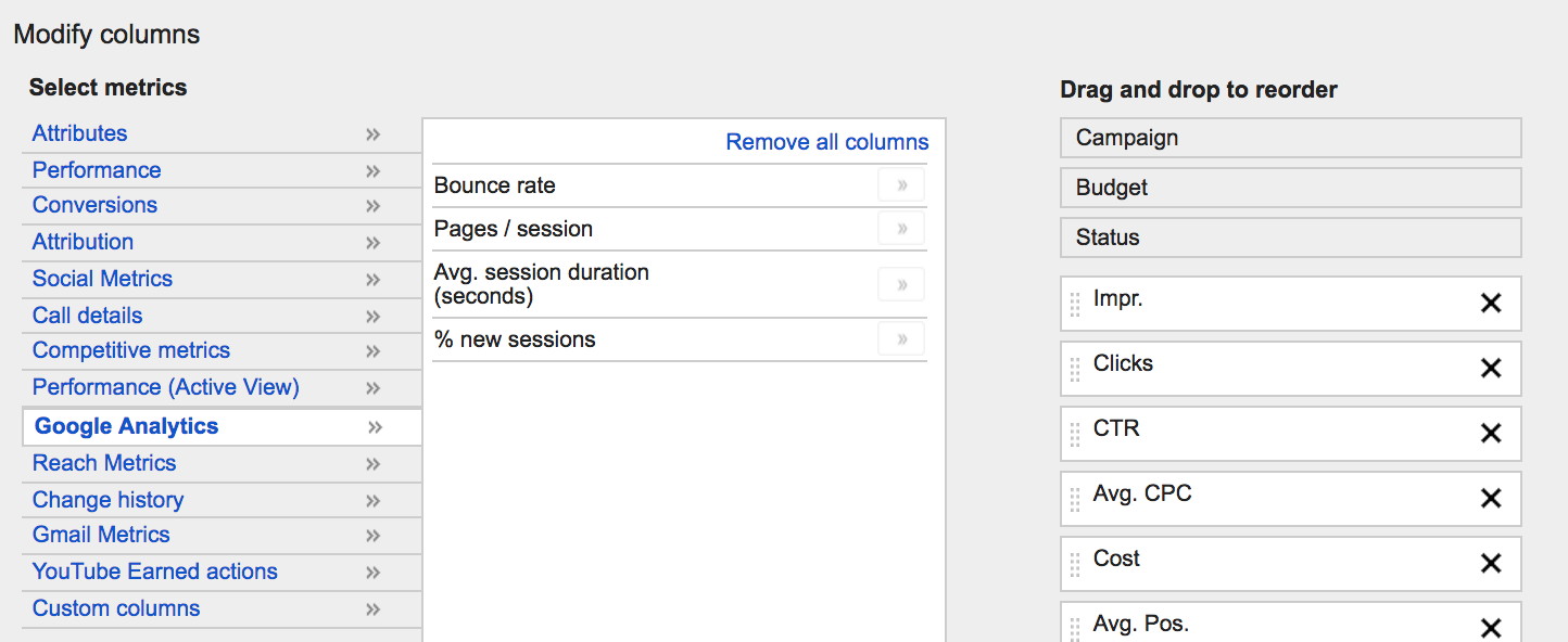 You can import these Analytics metrics into your AdWords account.