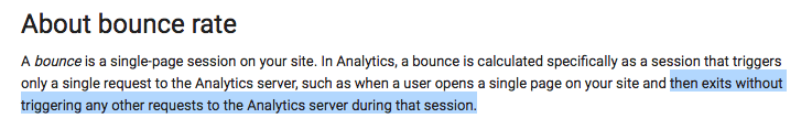 The definition of Bounce Rate.