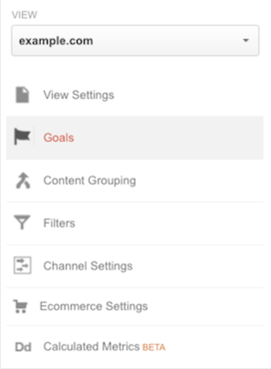 First, go into the Admin section of Google Analytics, and click on Goals.