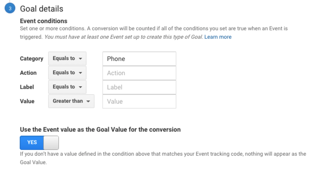 """Next, add """"Phone"""" to the Category in the Goal details section of Google Analytics."""