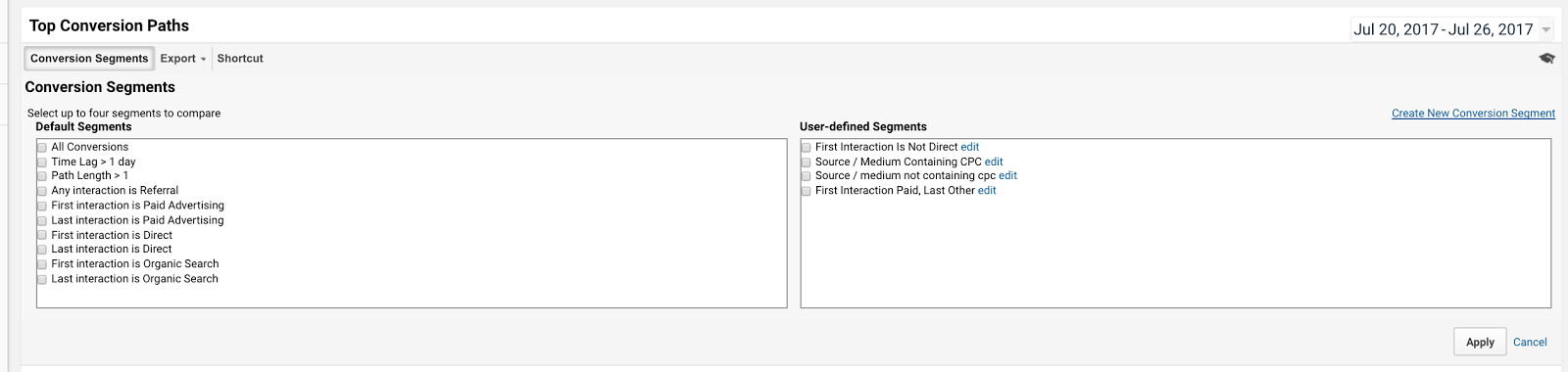 Google Analytics provides some default conversion segments for you, but you can also create your own.