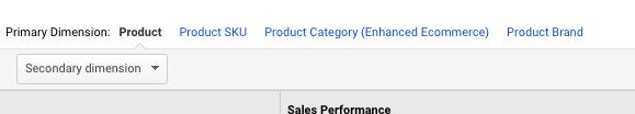 You can view product performance by multiple dimensions such as Product Category and Product SKU.