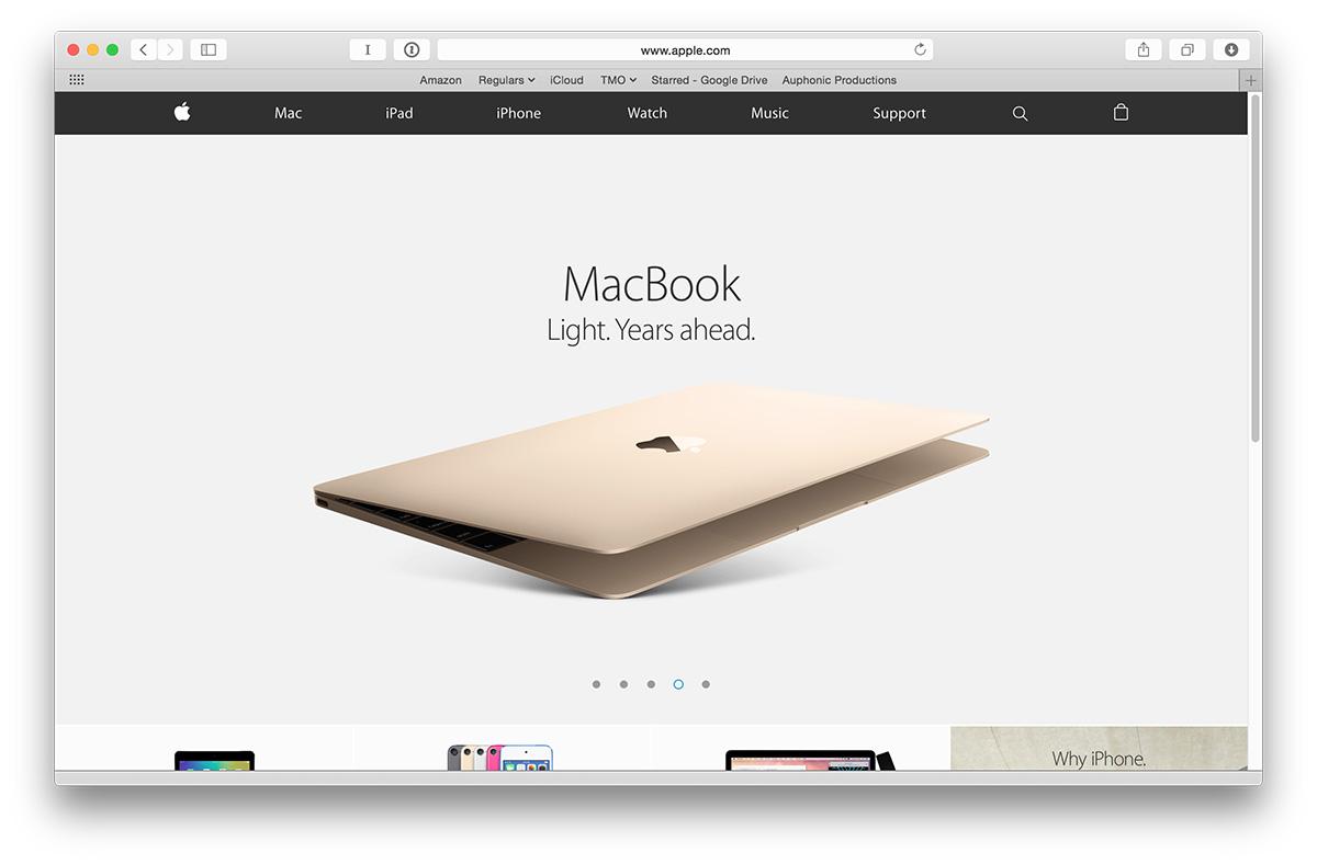 Apple's MacBook subpage, 2017