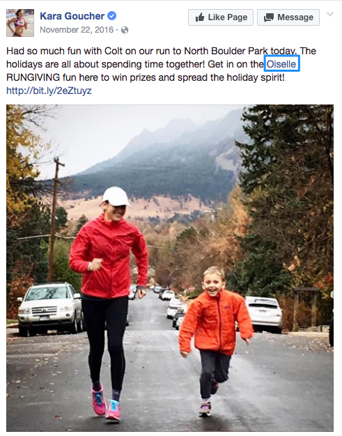 Sponsored athlete, Kara, getting the facebook brand awareness word out.