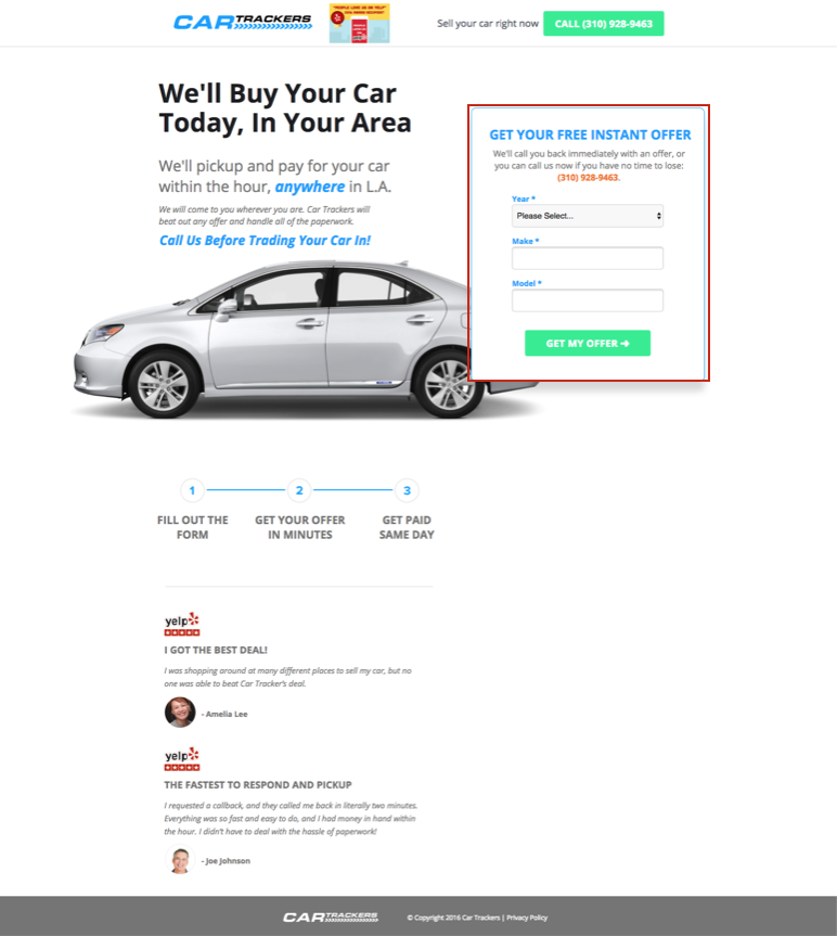 landing page not converting low-threat request: your car's year, make, and model.