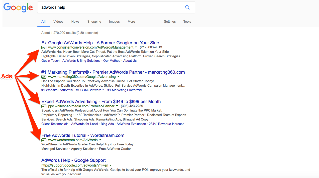 Look at all that AdWords help.
