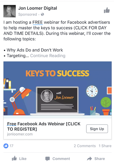 A Facebook brand awareness ad about Facebook ads.