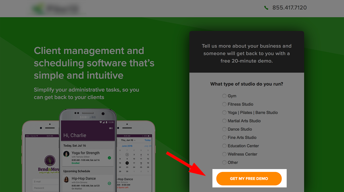 CTA example: get users to press that button.