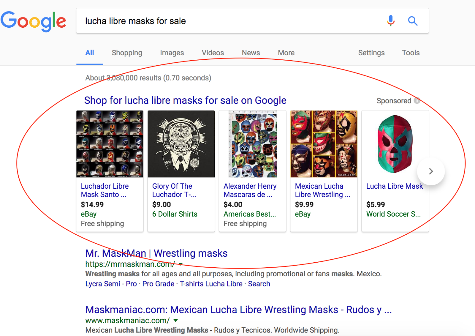 Shopping ads can show at the top or side of a SERP.