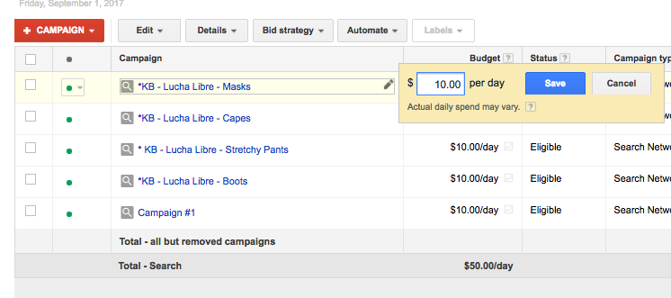 "Or by clicking on the budget in the ""Budget"" column of existing campaigns"