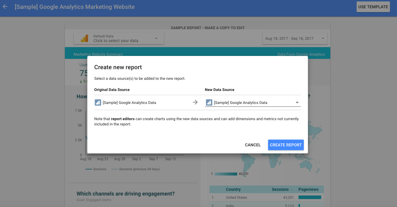 Choose a data source for your sample report.