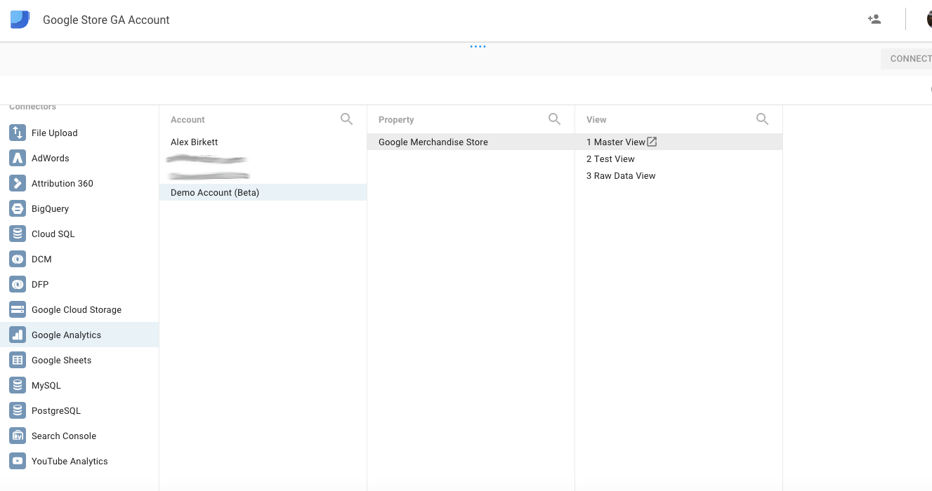 Connecting Google's demo analytics account