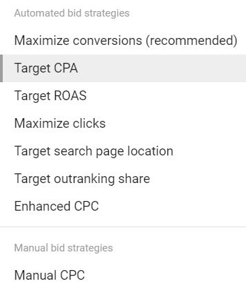 Bidding strategy options