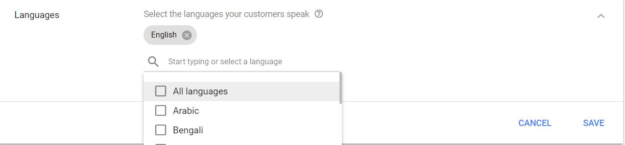 Languages setting