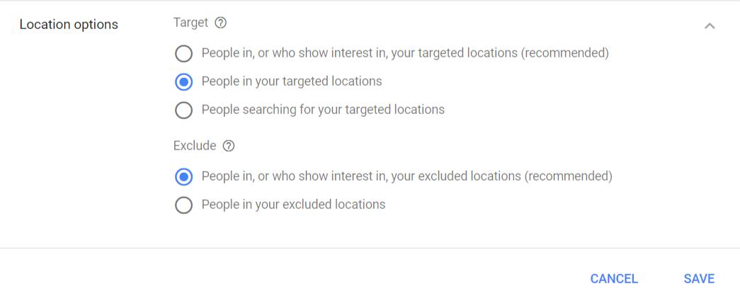 Locations options setting
