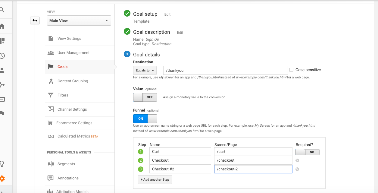 Setting up our first goal in Google Analytics