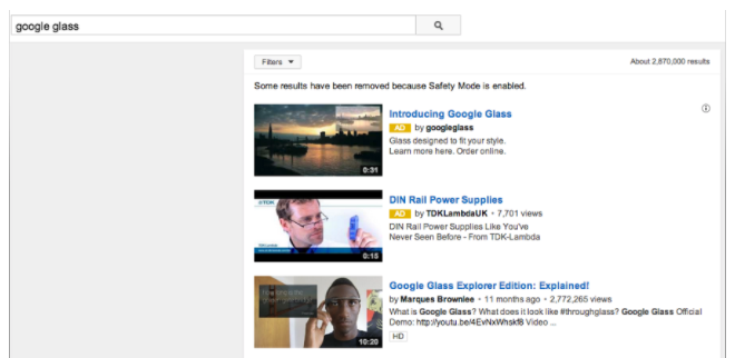 Here's an example of video discovery ads on the search results page of YouTube.