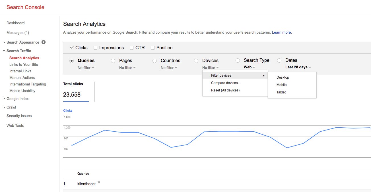 How Search Analytics look in your Search Console.