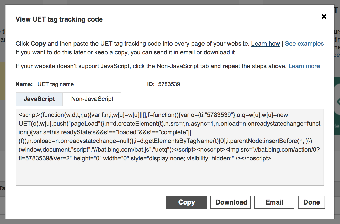 This is how your UET tag tracking code will look.