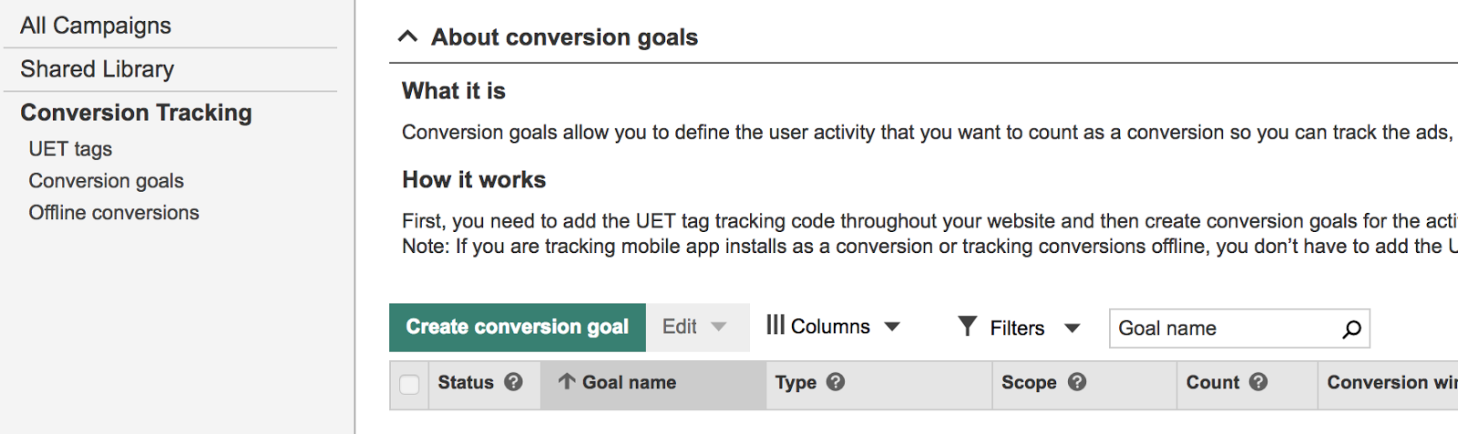 This is where you'll see all the conversion goals you set up.