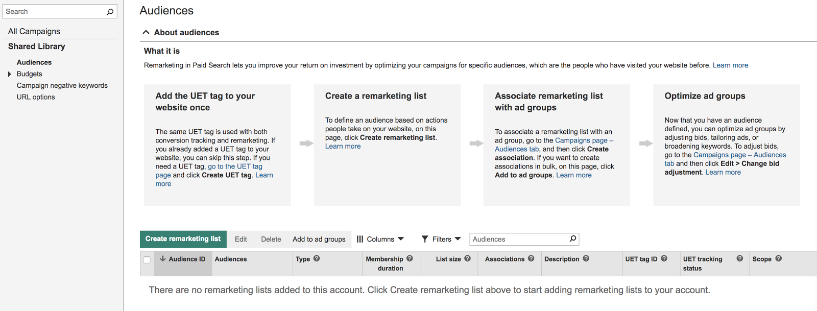 This is where you'll find any remarketing lists you set up.