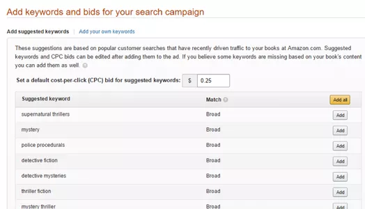 Amazon will suggest keywords, but they may be too broad.
