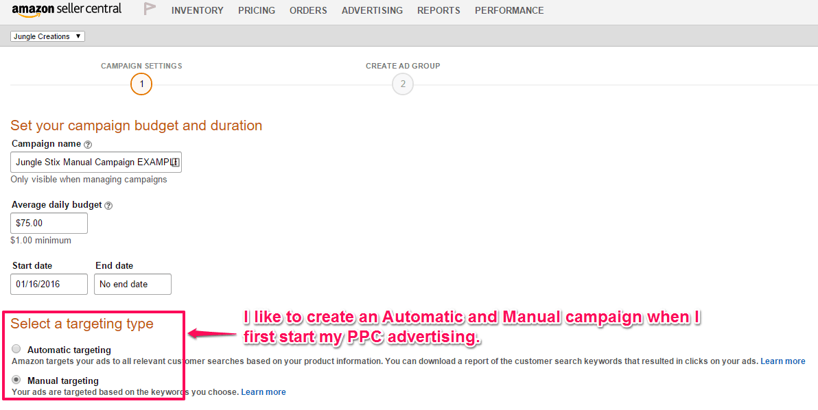 Experiment with both Automatic and Manual campaigns.