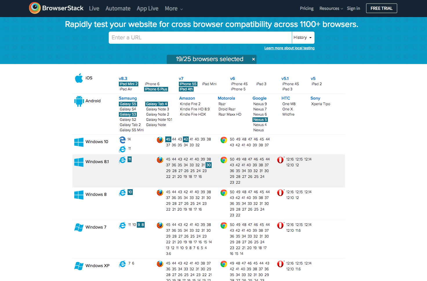 Screenshot of browser compatibility