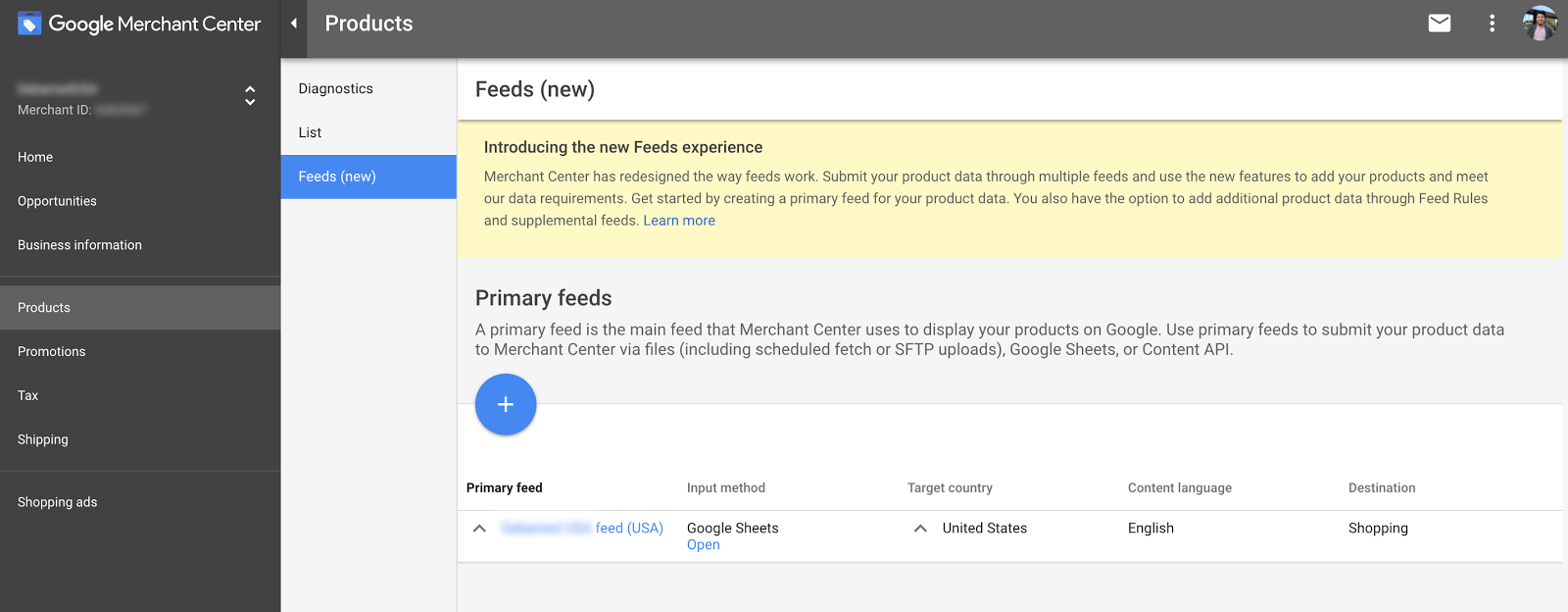 You now have the option to add primary feeds and supplemental feeds.
