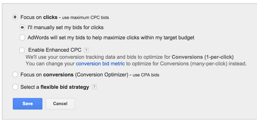 So, for search, you'll want to use ManualCPC as your bidding strategy choice.