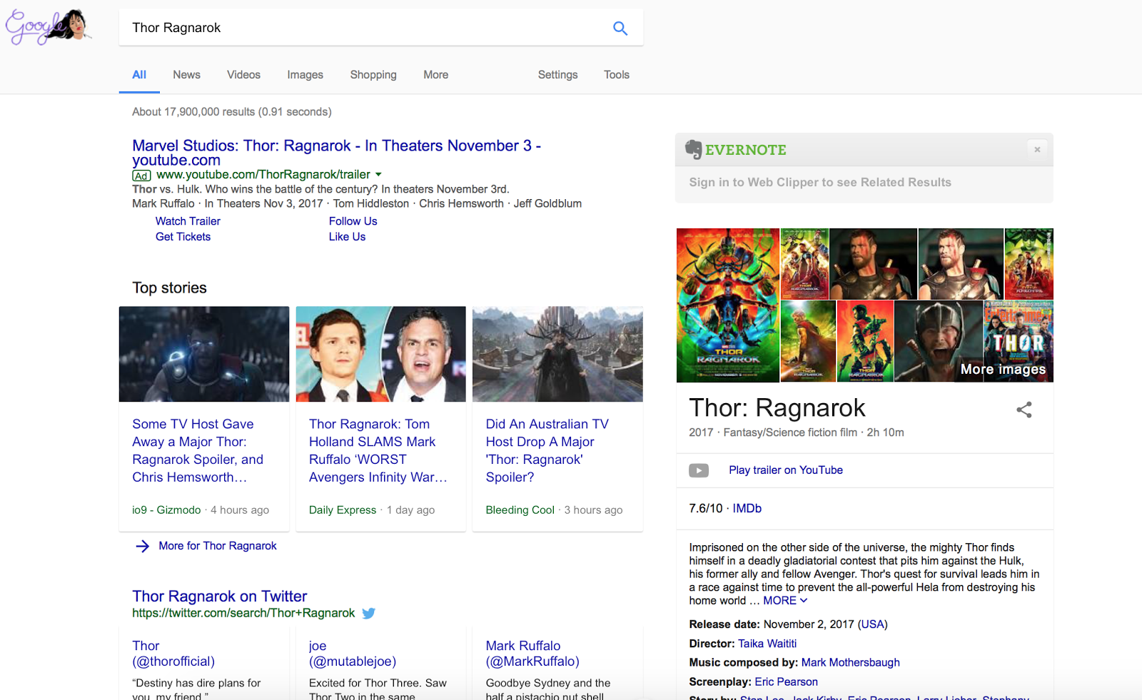 Notice how the Marvel link is actually an ad?